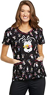 Tooniforms Women's V-Neck Minnie Mouse Print Scrub Top