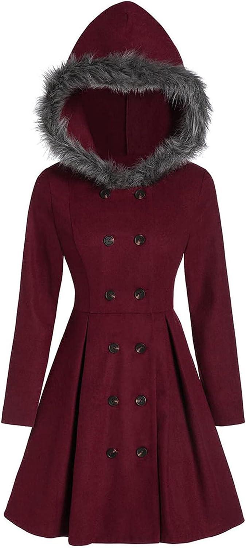 Max 78% OFF Women's Plush Ultra-Cheap Deals Hooded Overcoat Vintage Print Coat Plaid Blou