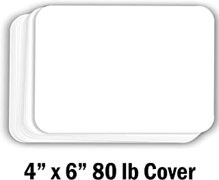 Hamilco White Cardstock Thick Paper - Blank Index Flash Note & Post Cards with Rounded Corners - Greeting Invitations Stationary 4 X 6