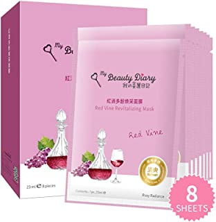 My Beauty Diary-Red Vine Revitalizing Facial Mask, Brightening and Firming Face Collagen Essence Sheet Mask for All Skin Condition and Dull Skin Concern (8 Combo Pack)