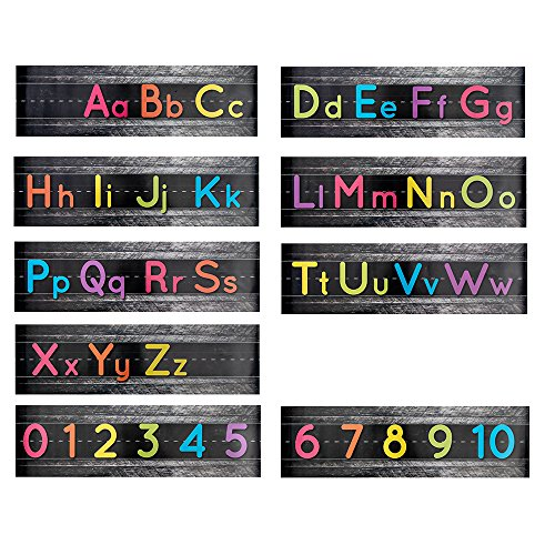 Alphabet Bulletin Board Strips, Classroom Decorations (21 x 6 Inches, Black, 9-Pack)