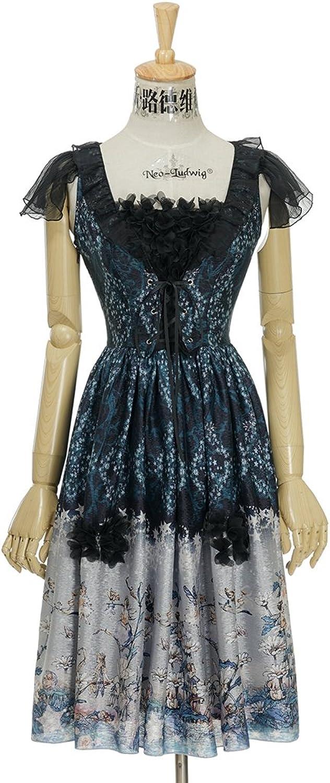 Fairy Floral Dress Lolita Fashion Midi Corsage Dress Ball Dress bluee Green