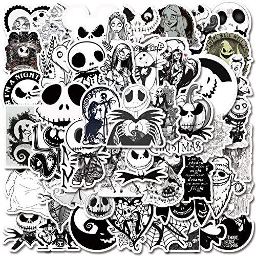 Nightmare Before Christmas Stickers| 50 PCS | Black White Vinyl Waterproof Stickers for Laptop,Bumper,Water Bottles,Skateboard,Computer,Phone,Hydro Flask (Halloween-50Pcs )