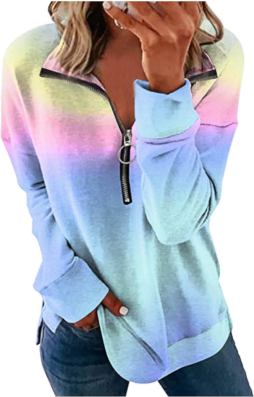 Huangse Women's Casual Crew Neck Long Sleeve Gradient Contrast Color-Block Pullover Tie Dye Blouse Tops Loose Sweatshirts