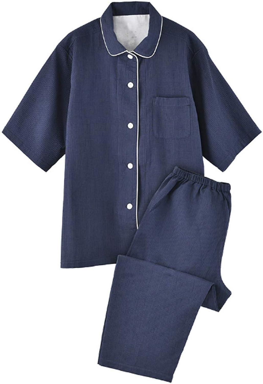 Men'S Sleeve Cotton Shirt And Pants Pajamas Pjs Sleepwear Lounge Set Blue Xl