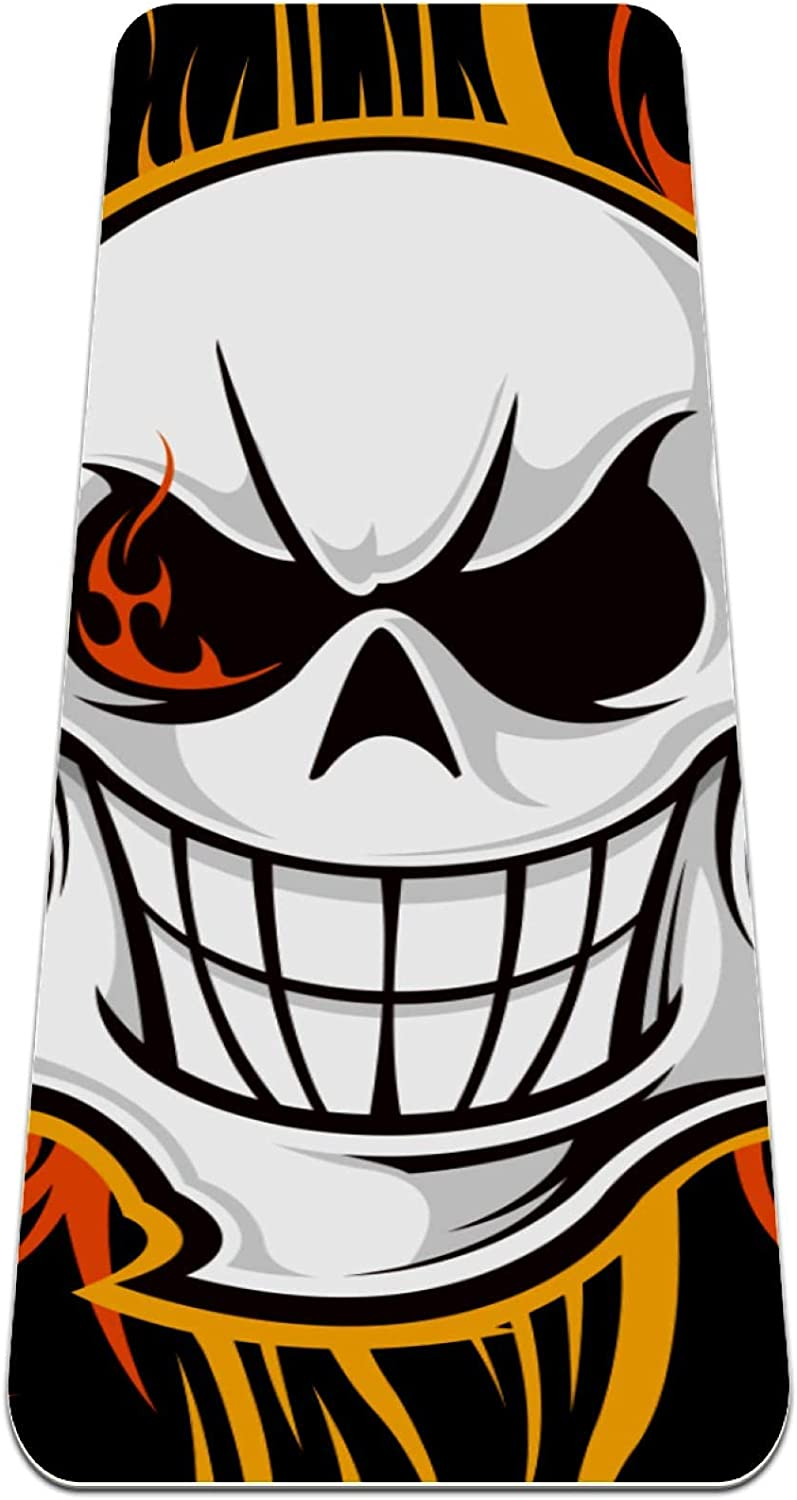 FAAXDIQ Yoga Mat Cool Clearance SALE Limited time Long-awaited Skull Reversible Skeleton Extra Pirates