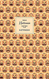 Halloween Notebook - Ruled Pages - 5x8 - Premium: (Orange Edition) Fun Halloween Jack o Lantern notebook 96 ruled/lined pa...