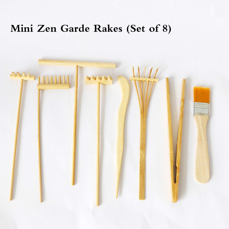 AliKiki Meditación Zen Rastrillo de jardín – Mini juego de herramientas de bambú para mesa de jardín de arena – Accesorios de escritorio Zen Jardín (juego de 8): Amazon.es: Juguetes y juegos