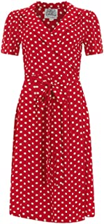 Seamstress Of Bloomsbury Red and White Spots 1940s Peggy Wrap Dresses