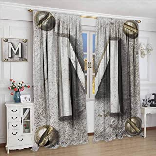 Paddy Benedict Print Customized Curtains W84 x L72 Inch,Room Darkening Wide Curtains,Letter M,Zinc Iron Steel Alphabet Typeset with Grunge Scratched Texture Industrial Image, Silver Gold