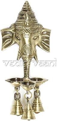 Vedic Vaani Antique Home Decor Ganesh Face Metal Brass Wall Hanging Deepak Deepam Diya with Decorative Dangling Bell for Ganesha Festival, Ganapati Puja, Festival Decor