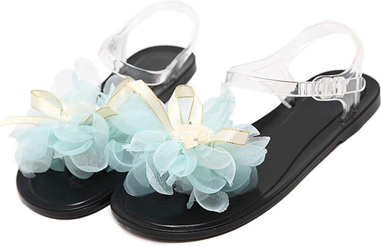 Monica's house Summer Jelly Sandals Women PVC Crystal Beach shoes Pearl Flower Toe-Clip Student Flat Heel Sandals Flip Flops