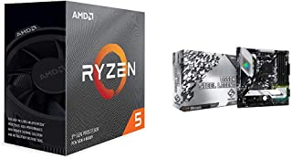 AMD Ryzen 5 3600 3.6GHz 6コア / 12スレッド【国内正規代理店品】 100-100000031BOX + ASRock B550チップセット搭載 Micro ATX マザーボード B550M Steel Legend