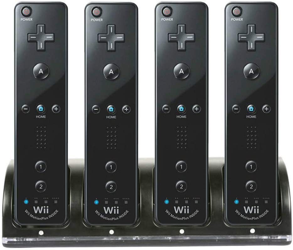 Wii Remote Controller Charger, 4 in 1 Wii Charging Dock Station with 4PCS 2800mAh Rechargeable Batteries for Wii/Wii U Controller-Black: Home Audio & Theater