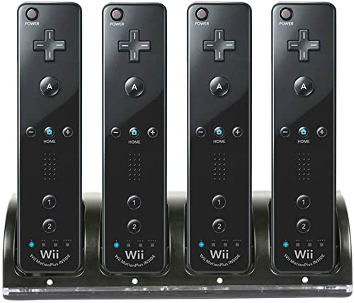Wii Remote Controller Charger, 4 in 1 Wii Charging Dock Station with 4PCS 2800mAh Rechargeable Batteries for Wii/Wii ...