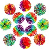 12 Pcs Monkey Stringy Balls, Sensory Fidget Stringy Balls, Soft Silicone Rainbow Pom Bouncy Stress Relief Monkey Ball Games Fun Sensory Fidget Toy for Kids Children Adults Office and Home, Multicolor
