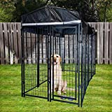 Goetland Extra Large Heavy Duty Welded Wire Dog Kennel Cage Pet Playpen with Cover Frame Roof Outdoor Galvanized Metal 7.7x4.15x5.9 feet