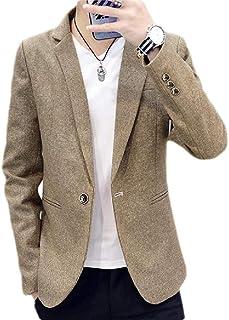 CRYYU Men's Solid Color Notch Lapel Slim Fit Business One Button Sport Coat Blazer Jacket