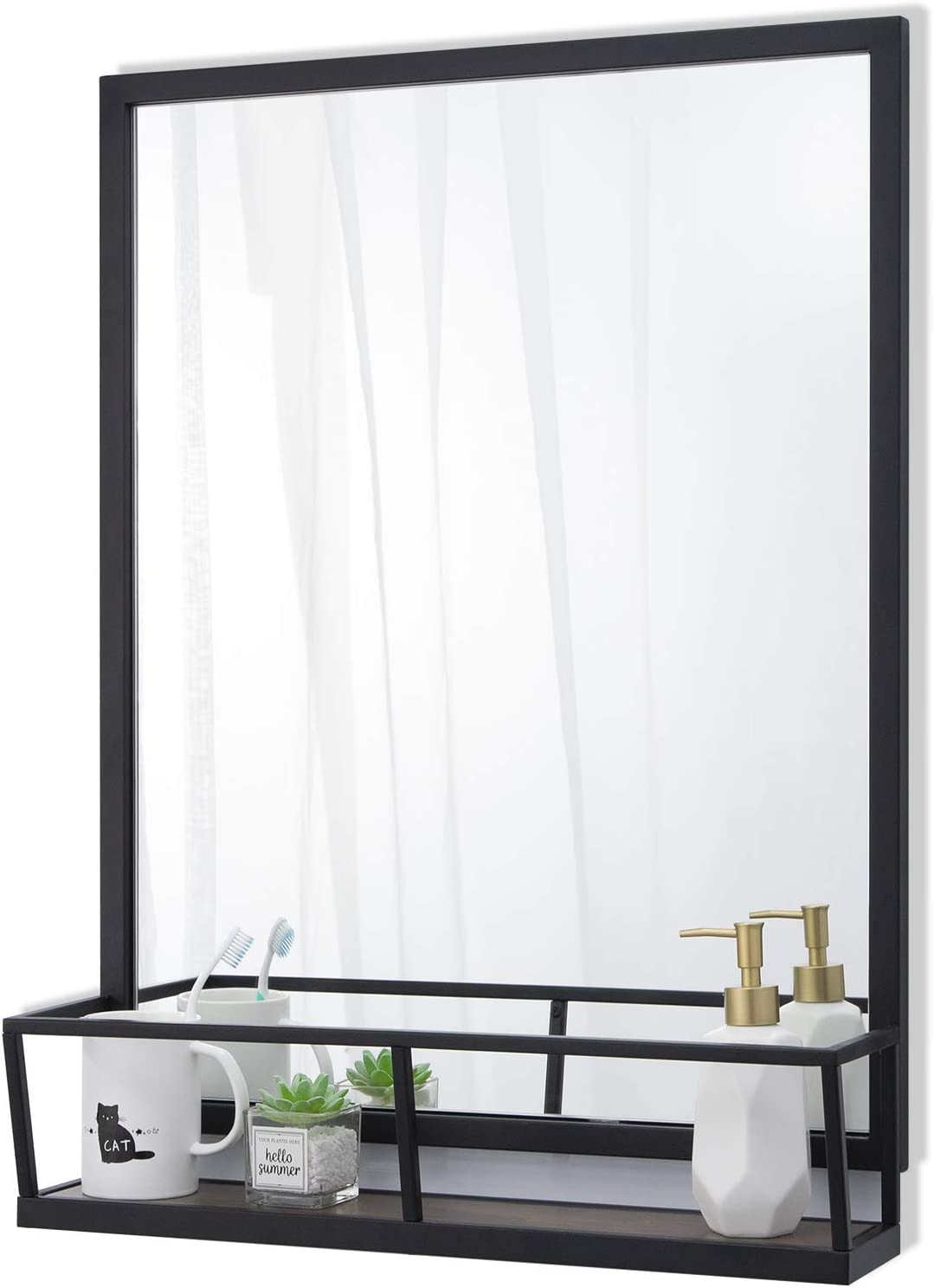 Chende Black Bathroom Mirror with Shelf, Large Accent Wall Mirror for Decor, Rectangle Decorative Mirror with Metal Iron Frame for Foyer, 30.3''H x 22.4''W