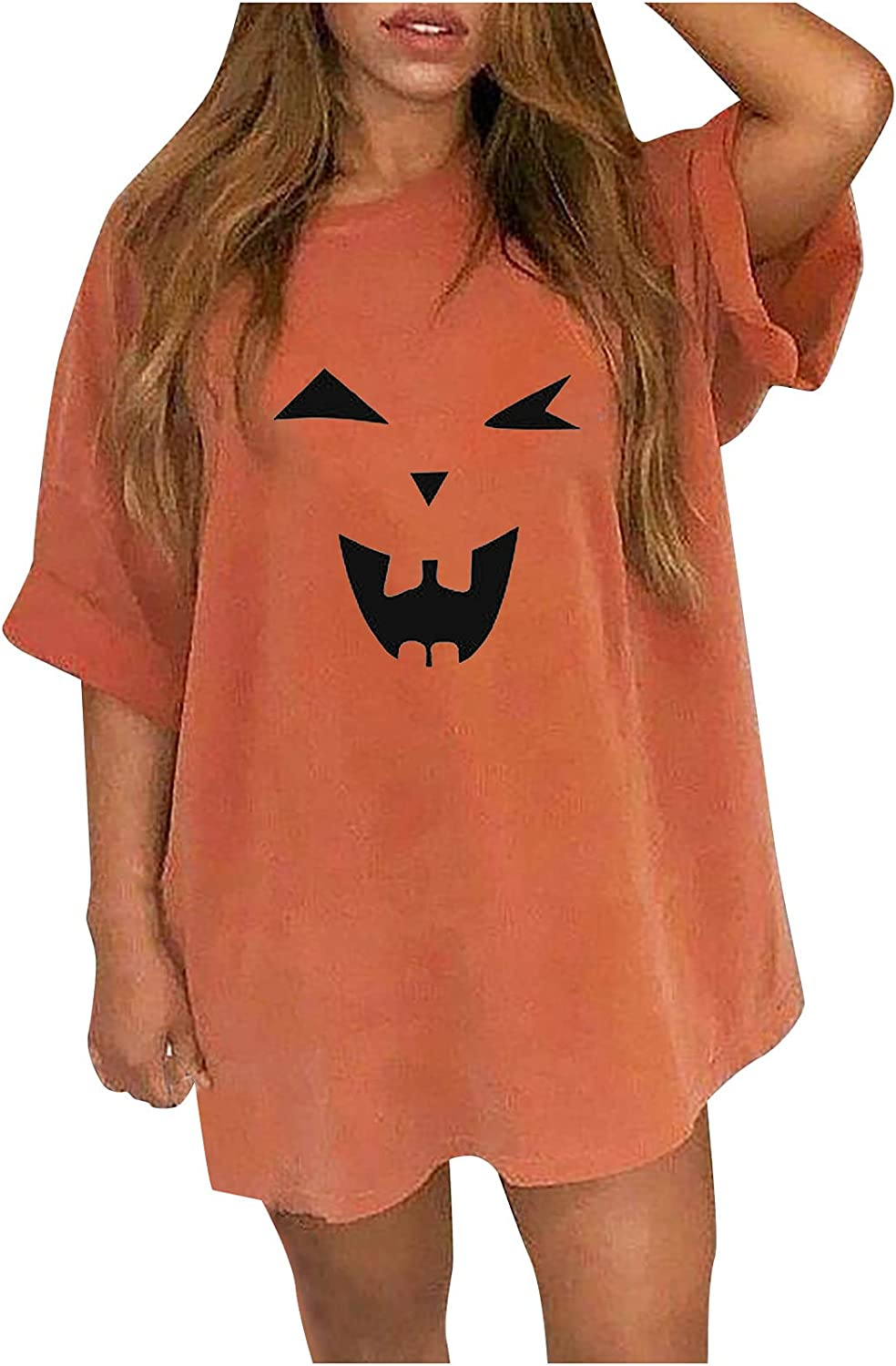 Women's Tunic T-Shirt Tops Loose Plus Size Halloween Funny Printed Casual Short Sleeve O-Neck Shirt Blouse Tops