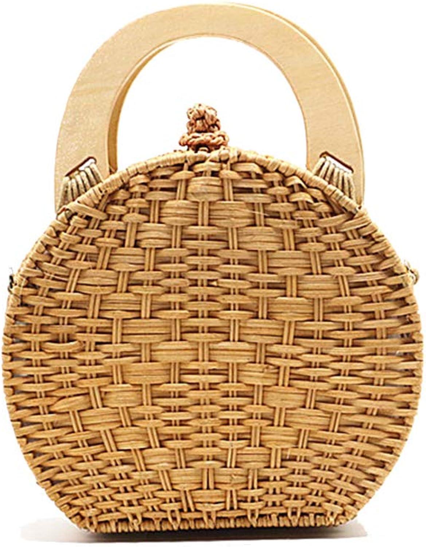Onzama Women Handwoven Round Rattan Bag Shoulder Purse Natural Top Handle Handbags Camel