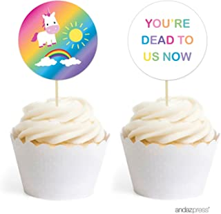 Andaz Press Funny Farewell Retirement Party Decorations, You're Dead to Us Now, Cupcake Toppers DIY Kit, 20-Pack
