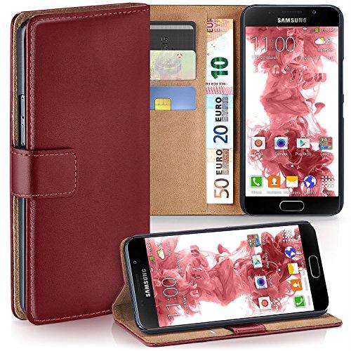 MoEx® Booklet mit Flip Funktion [360 Grad Voll-Schutz] für Samsung Galaxy A5 (2016) | Geldfach & Kartenfach + Stand-Funktion & Magnet-Verschluss, Dunkel-Rot