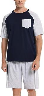 Conjunto de Pijama Corto para Hombre Algodón Verano Raglan Manga Corta Tops y Pantalones Cortos Ropa de Dormir