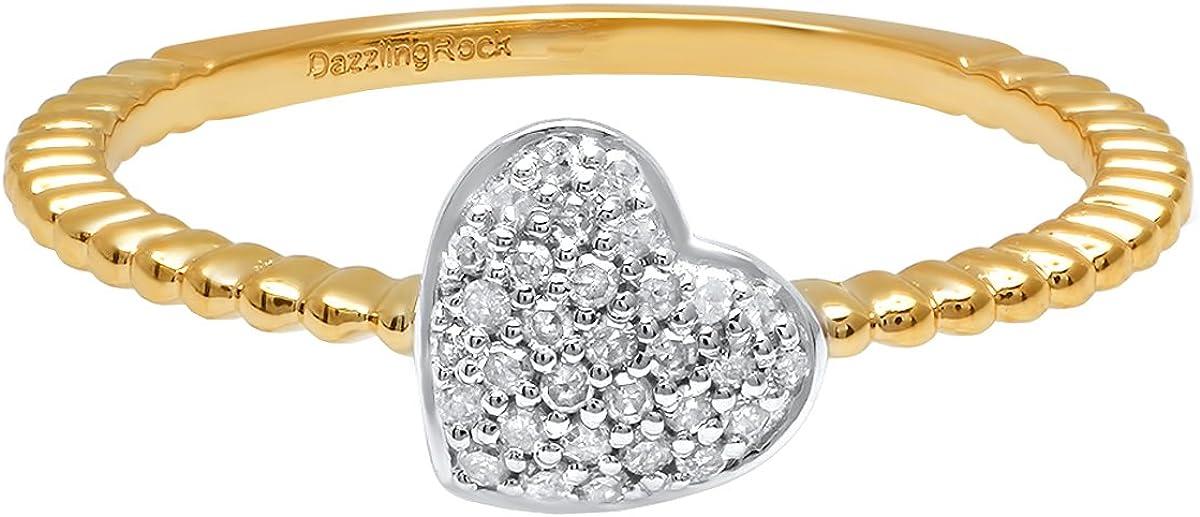 Dazzlingrock Collection 0.15 Carat (ctw) 10K White & Round Diamond Ladies Bridal Two Tone Heart Promise Ring, Yellow Gold