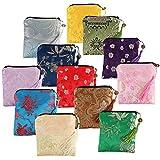 kilofly 12 pc Silk Brocade Tasseled Coin Purse Zipper Jewelry Bag Gift Pouch Set