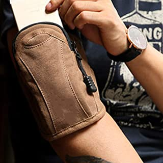 WOYAOFA Sports arm Bag Running Mobile Phone Bag Canvas Material Waterproof and wear-Resistant 10×4×16cm Comfortable, Breathable arm Pack with Built-in Straps to Prevent loosening (Color : Brown)