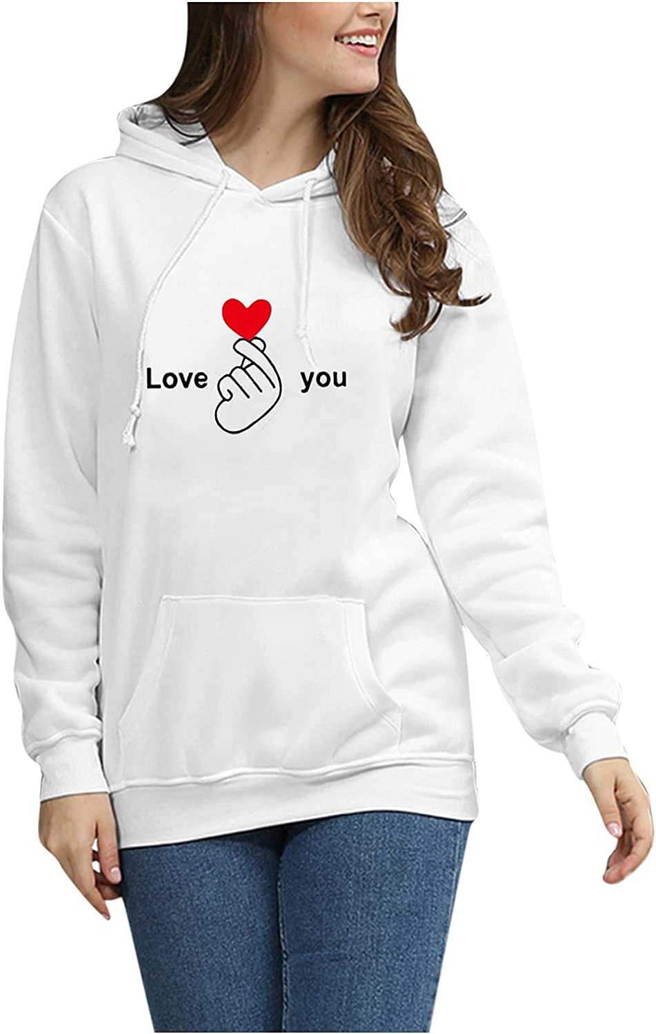 Toeava Hoodie for Women, Women's Casual Print Long Sleeve Pullover Blouse Drawstring Loose Fit Thermal Pullover Tops