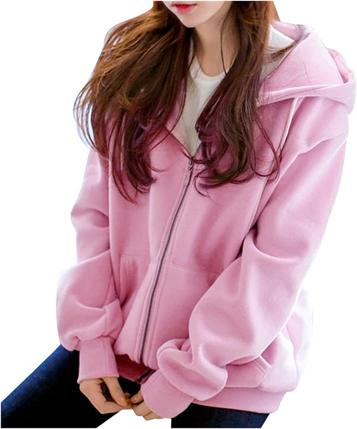 Nyybw Women's Comfortable Soft Sweatshirts Casual Lightweight Active Thin Zip-Up Hoodie Jacket Coat with Two Pockets