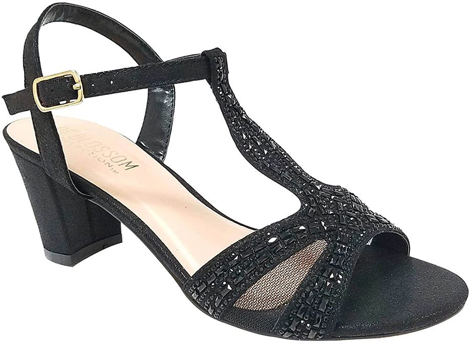 De Blossom Collection Women's Rhinestone Embellished T-Strap Low Chunky Heel Dress Sandal