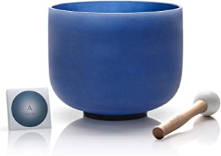 TOPFUND A Note Crystal Singing Bowl Third Eye Chakra Indigo Color 8 inch O-ring and Rubber Mallet Included