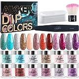Aikker - Juego de 12 polvos de purpurina para uñas con bandeja de reciclaje para fiestas de invierno AK16