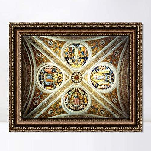 "INVIN ART Framed Canvas Art Giclee Print Series#061 by Raphael/Raffaello Sanzio Wall Art Living Room Home Office Decorations(Vintage Embossed Gold Frame,20""x24"")"