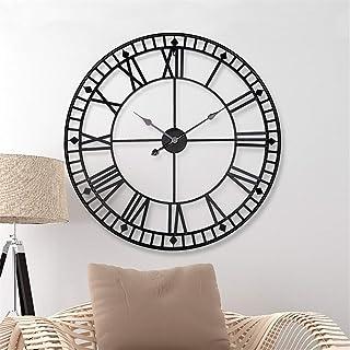 c88dbc64b Relojes de pared 80 cm, metal grande, números romanos decorativos Reloj  esqueleto silencioso 3D