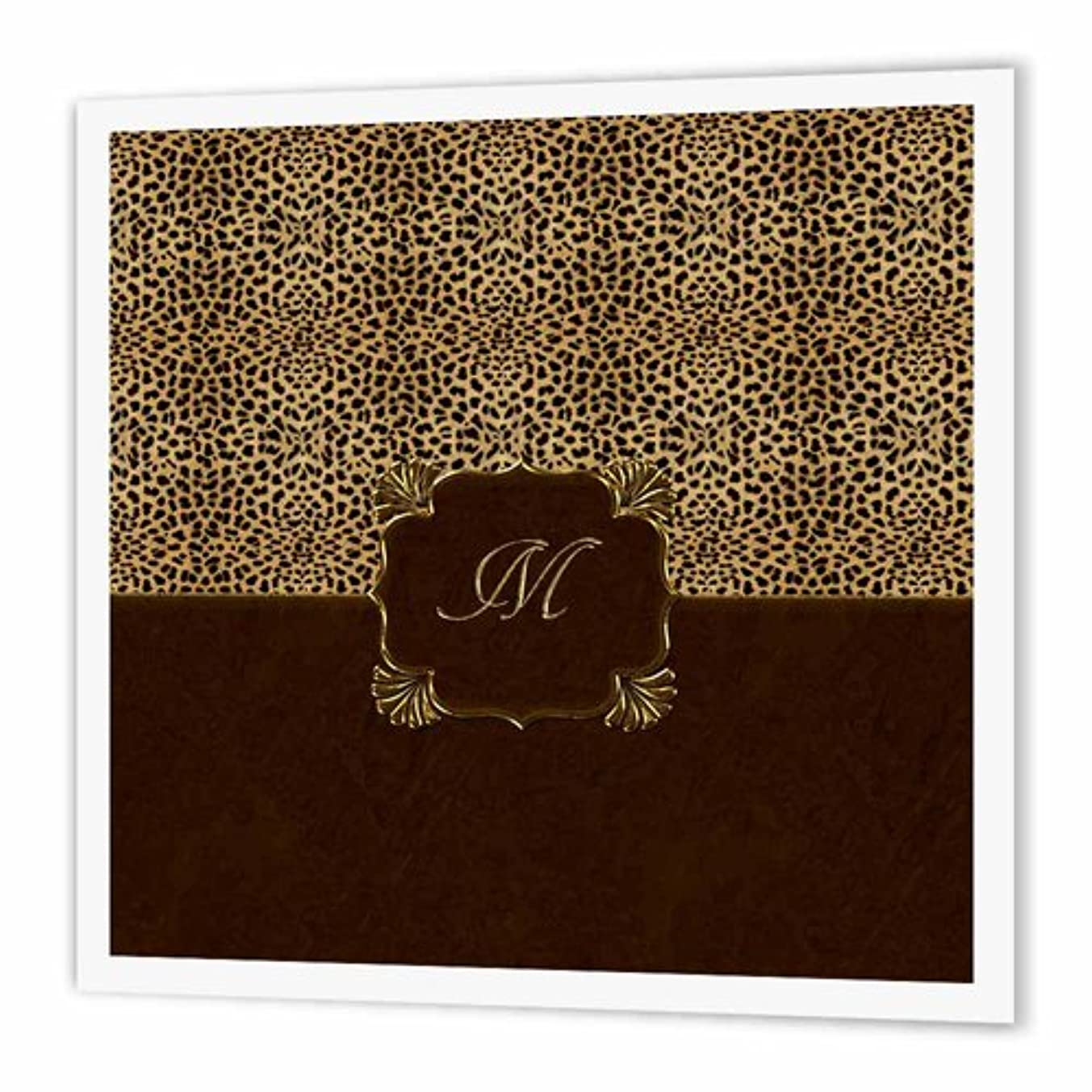 3dRose Elegant Cheetah Animal Print with Gold Framed Monogram Letter M - Iron on Heat Transfer, 6 by 6-Inch, for White Material (ht_113828_2)