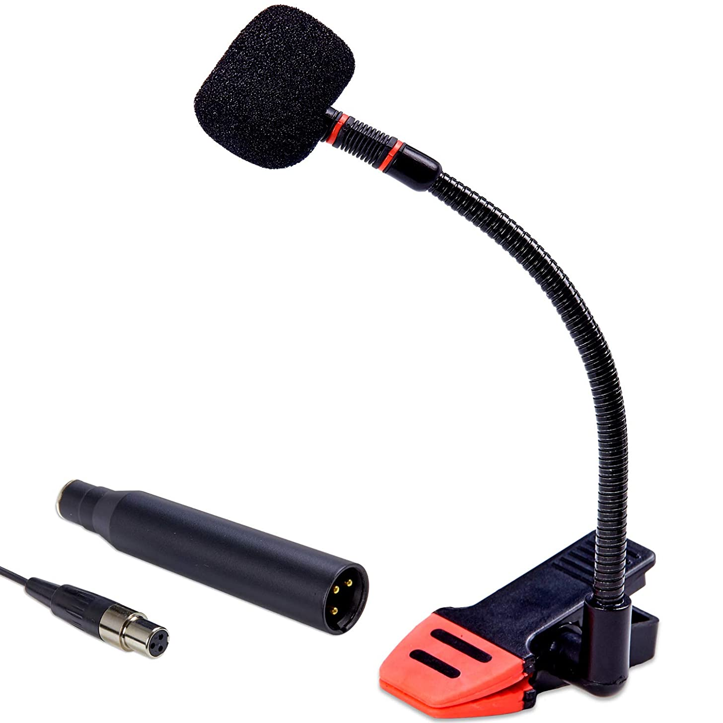 Knox Clip-On Gooseneck Instrument Microphone – Condenser Mic for Sax, Clarinet, Trumpet and Percussion – Rubberized Clip, Flexible Neck, Mini XLR Input with XLR Adapter