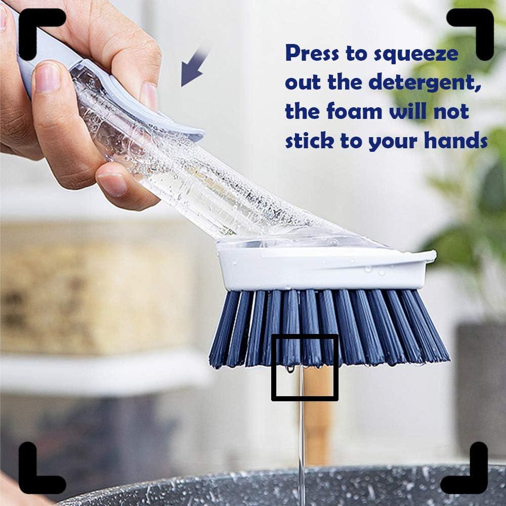 Gray Dish Scrubber Soap Dispenser Kitchen Dish Brush with Soap Dispenser for Pot Pan Sink Cleaning Soap Dispensing Dish Brush with 4 Replaceable Heads