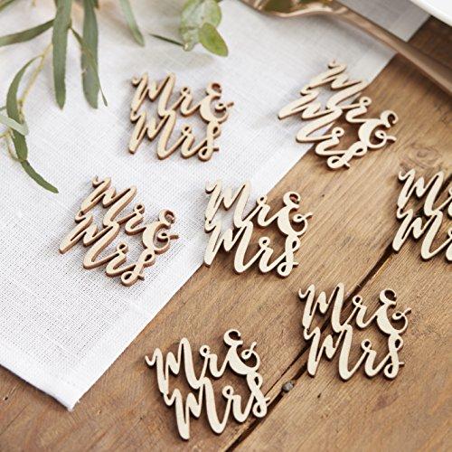 Ginger Ray Mr & Mrs Scripted Wooden Table Confetti Wedding Decoration - Beautiful Botanics