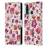 Head Case Designs Licenciado Oficialmente Ninola Dots Red Floral Patterns Carcasa de Cuero Tipo Libro Compatible con Huawei Y6p