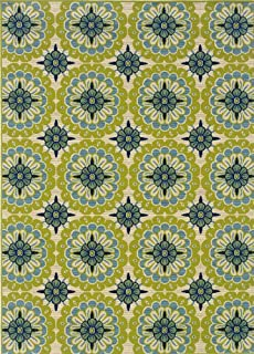 """Moretti Crowne Indoor/Outdoor Area Rug 8328W Green Patio Circles 6' 7"""" x 9' 6"""" Rectangle"""