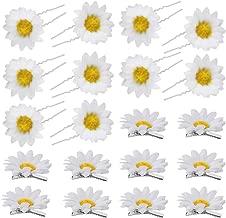 20pcs Flores Blancas Pelo Clip Flores para Pelo Margarita Horquillas para Cabello, Pinzas para el Cabello en forma de U y Clip de Pico de Pato para Niñas y Mujeres (Blanca)