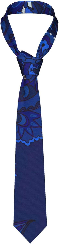 Elegant Indian Pattern Blue Men's Funny Neckties,Christmas Decorations Fashion Boys Cravats Tie,Classic Necktie for Wedding Party Business KXT
