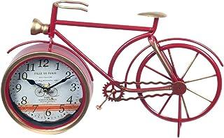 CAPRILO. Reloj de Mesa Decorativo Retro de Metal Bicicleta Roja. Adornos y Figuras. Vehículos. Decoración Hogar. Menaje. M...