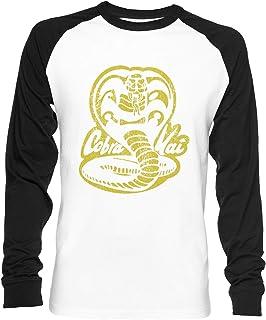 Vendax Cobra Kai - Cobra Kai Unisex Maglietta da Baseball A Maniche Lunghe Uomo Donna Bianca Nera