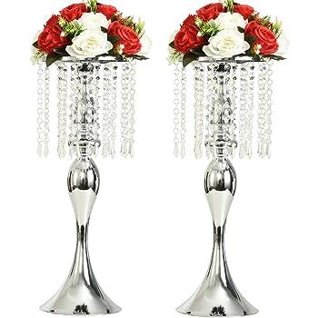 Casnuova Portafiori per Matrimonio Portacandele Matrimonio 11 Pezzi Fioriera Candeliere Vaso Centrotavola Matrimonio Portacandele Ferro Battuto Argento Altezza 50cm