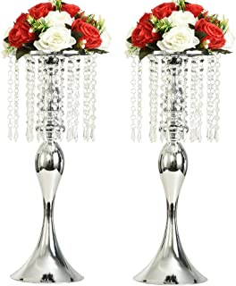 """Best LANLONG 2PCS Acrylic Imitation Crystal Candle Holder Stand Gold/Silver Flower Vase Wedding Centerpiece Lead Road Candlestick for Wedding Event Decoration (Silver, 21.25"""") Review"""